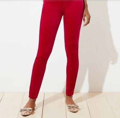 LOFT Red Modern Skinny Velvet Pants Size 10P 30 Petite New With Tags