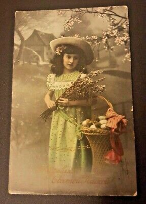 💚1914 Antique Photo Card Girl Happy Easter postage stamp Imperial Russia Пасха
