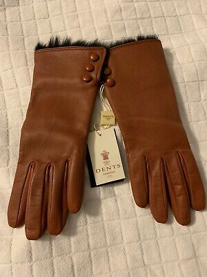 Dents Ladies Leather Coney Fur Lined Gloves Size Large