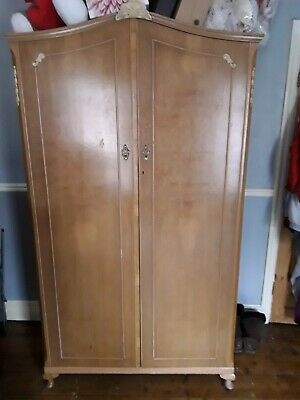 Vintage Walnut of London his and hers matching satin wardrobes