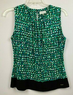 Calvin Klein Wm's pull-over blouse, Size L, Green & Black, Stretch, Sleeveless