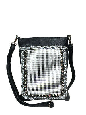 Zzfab Bling Cross Body Mesh Rhinestone Sparkle Swing Black