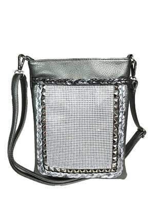Zzfab Bling Cross Body Mesh Rhinestone Sparkle Swing Pewter