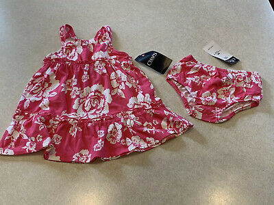Chaps Ralph Lauren Baby Girl's Dress Set Pink & White Floral Size 9 Months NWT