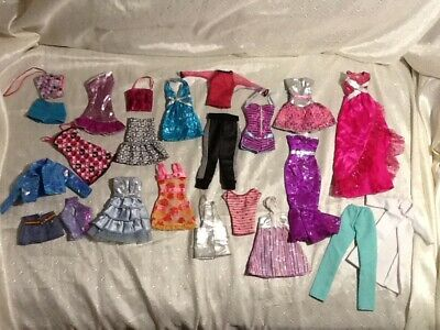 Awesome 23 piece BARBIE doll clothes outfits dresses lot MUST SEE