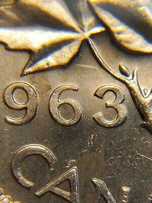 ERROR 1963 Uncirculated Hanging 3 One Cent Canada UNC Penny BR75