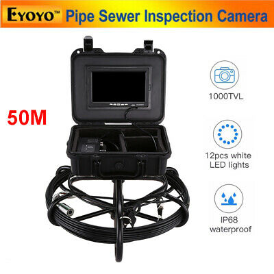 "7"" 50M Video Snake Drain Underwater Industrial Pipe Sewer Camera 7"" IP68 1000TVL"