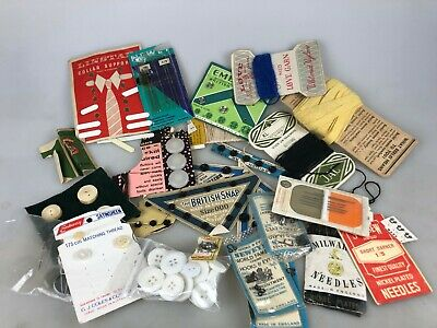 Vintage Sewing Needs - Mixed Lot See Pictures - Needles, Cottons, Fasteners ++