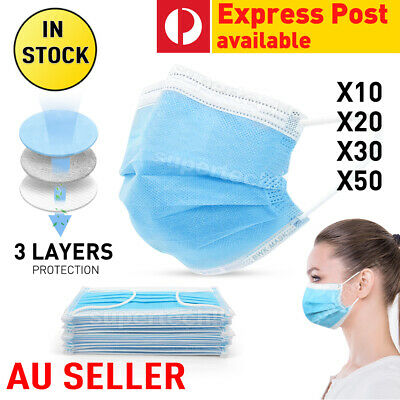 10/20/30/50 Disposable 3Layer Face Mask Protective Mouth Masks SAME DAY SHIPPING