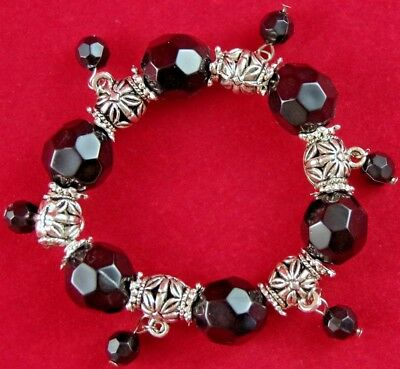 NOS QUALITY BLACK FACETED & SILVER FILIGREE BEAD STRETCH BRACELET w/DANGLES