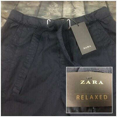 "Zara Men's Relaxed Dark Blue Inditex Casual Chino Pants Size 30"" x 27"""