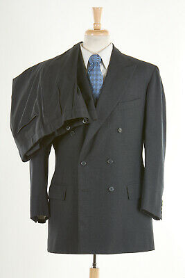 Vintage 80s ANDERSON & SHEPPARD Suit 44L in Char Gray Solid Double-Breasted Wool