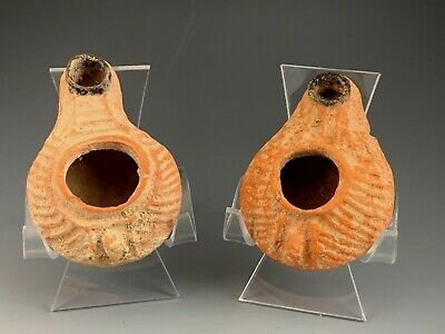 Ancient Byzantine Miniature Oil Lamp Pair; Holy Land A.d. 300 - 800 A.d. Scarce!