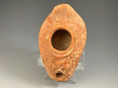 Ancient Byzantine Oil Lamp With A Cross; Holy Land 300 - 500 A.d. Choice