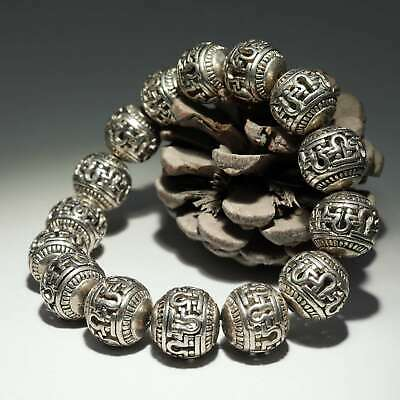 Collectable China Old Miao Silver Hand-Carved Exorcism Moral Auspicious Bracelet