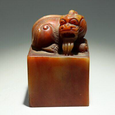 Collectable China Old Shoushan Stone Hand-Carved Myth Kylin Luck Seal Statue