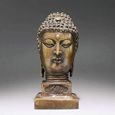 Collect China OId Bronze Hand-Carved Buddha Head Precious Buddhism Seal Statue