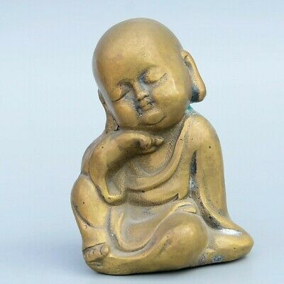 Collectable China Old Bronze Hand-Carved Little Monk Buddhism Auspicious Statue