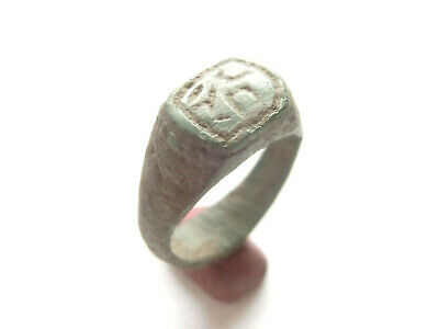 Ancient CELTIC Bronze Ring  DRUID SYMBOLS Engraved > *La Tene* Period- WEARABLE!