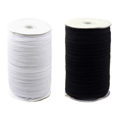 1Roll Flat Elastic Cords Stretchy Threads Rope Black White 4mm 6mm 8mm 10mm 12mm