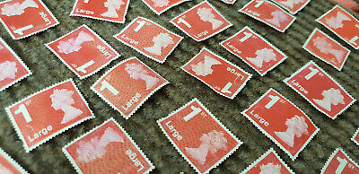 Royal Mail x519  UNFRANKED RED 1st class LARGE security stamps Off paper No Gum