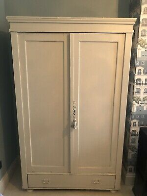 Lovely Antique Wardrobe, Pine Painted cream/Off White