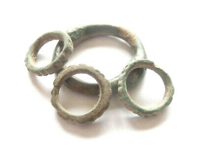 KNOBBED Ring Proto Money Ancient CELTIC Bronzr PROTO CURRENCY - 4 pcs > 700 BC