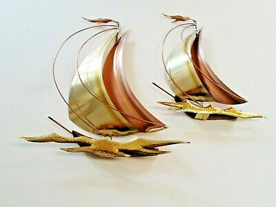 Set of 2 Metal Mid-Century Wall Mounted Sailboats - Brass & Copper Tone Decor