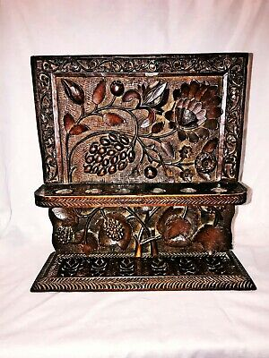 Rare Antique Pipe Holder Hand Carved Oak wood Wall Hanging