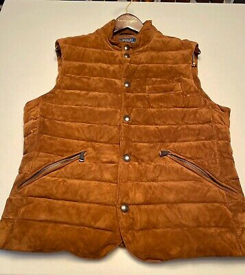 $998 Polo Ralph Lauren Mens Quilted Suede Down Brown Puffer Vest Jacket Gilet M