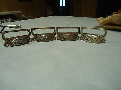 ANTIQUE CAST IRON EAST LAKE FILE CABINET DRAW PULLS /  CARD HOLDERS; SET of  4
