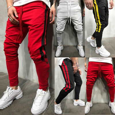 Hommes Survêtement Sport Gym Slim Fit Étroit Jogging Sweat Pantalon de