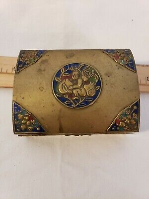 Antique Chinese Brass & Enameled Wood Lined Cigarette Trinket Box Beautiful Box