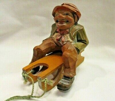 Vtg Anri Italy Wooden Carved Man Sled Wood Sitting Hand Carving Figurine Italian