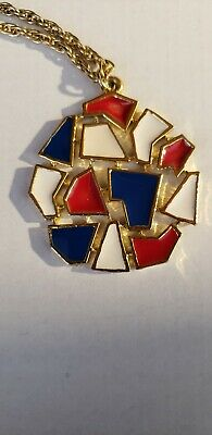 Vintage RED CREAM WHITE BLUE ENAMEL MODERNIST DECO NECKLACE 10.5 inches