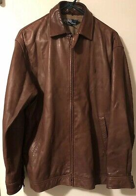 Ralph Lauren Small Mens Brown Leather Jacket Butter Soft Very Nice Free Shipping