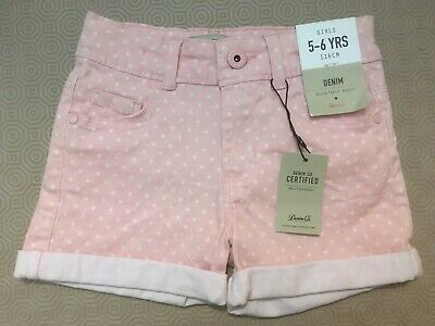 Denim Co Girls Pink Spotted Denim Shorts  Age 5-6 Years  Bnwt