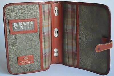 Mulberry Sage Green/Brown Scotch Grain Leather Vintage Organiser/Diary Planner
