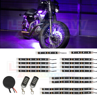 LEDGlow 14pc Advanced Purple LED Flexible Motorcycle Accent Neon Light Kit