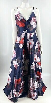 Calvin Klein Floral Evening Dress Size 12 Blue Purple Red Long Formal Womens NEW