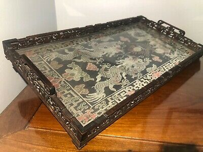 Antique Chinese Hand Carved Serving Tray W/Hand Embroidered Silk Art Under Glass