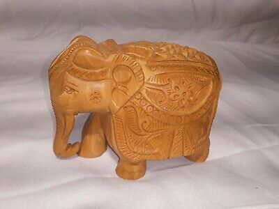 "Real Hand Crafted Wooden Elephant. 4x3"". Perfect Decor Or gift"