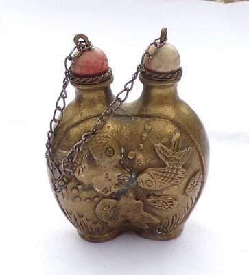 Vintage Chinese Brass Carp Fish Double Snuff Bottle w/ 2 Spoons Ornate