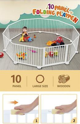 10 Panel Wooden Playpen Kids Baby Toddler Fence Play Yard White