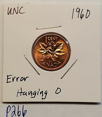 UNC ERROR Coin 1960 Hanging 0 CANADA 1 Cent Copper Penny UNC P266
