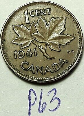 ERROR COIN 1941 Die Cracks thru GEORGIVS George VI Canada 1 Cent P63