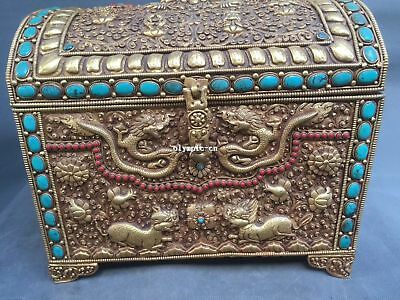 Tibet Nepal handicraft bronze gold inlay turquoise coral dragon kylin box case