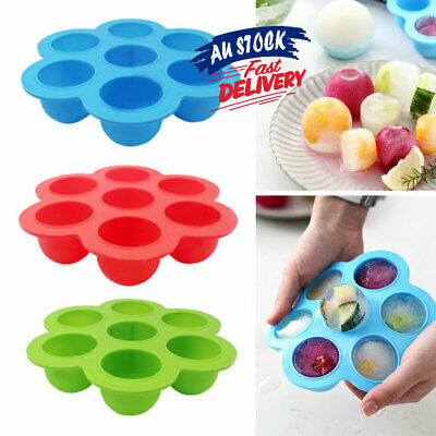 Kid Baby 7 Cavity Silicone Freezer Trays Lid Food Container Storage Silicone