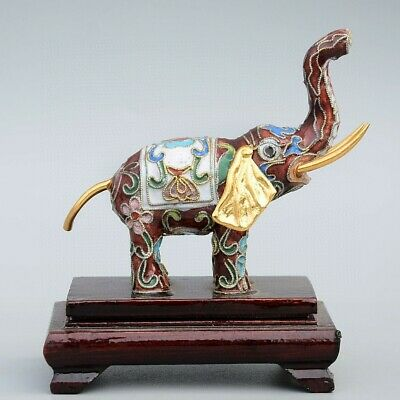 Collect China Old Cloisonne Hand-Carved Lovely Elephant Delicate Decor Statue