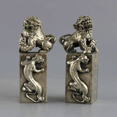 Collect Old Tibet Silver Hand-Carved A Pair Moral Bring Lucky Lion Seal Statue